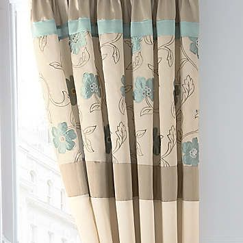Catherine Lansfield Alicia Duck Egg Standard Lined Curtains & Tie-Backs  £55.00
