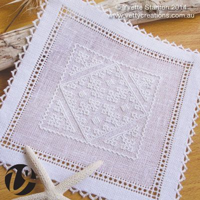 """This petite doily is from my new book """"Sardinian Knotted Embroidery: Whitework from Teulada"""". The style is called Punt 'e Nù, and is from Teulada, Sardinia, Italy. It features traditional motifs, worked in a simple knotted stitch. It is hemmed with a peahole hemstitch and a needlelace edging with picots. This class is one of the first opportunities for students to learn this technique from me. Experience with counted embroidery is recommended."""