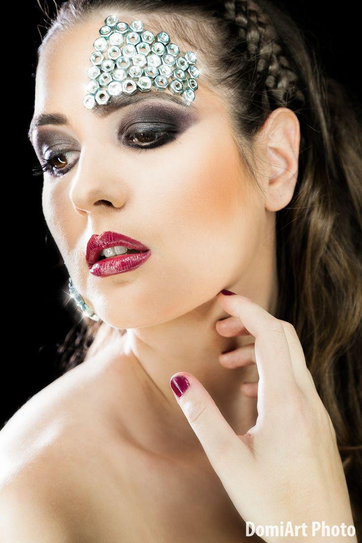 Metal nuts, strass, extreme metal makeup