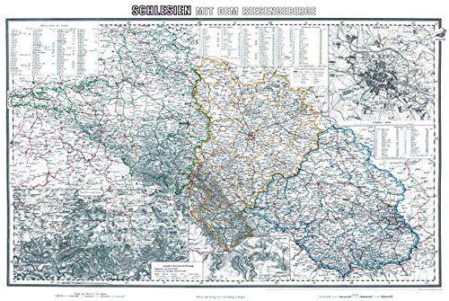 Historische Karte: Schlesien mit dem Riesengebirge, um 1890 - Liegnitz, Oppel, Breslau | Ahnenforschung || Historic Map of Silesia, 1890