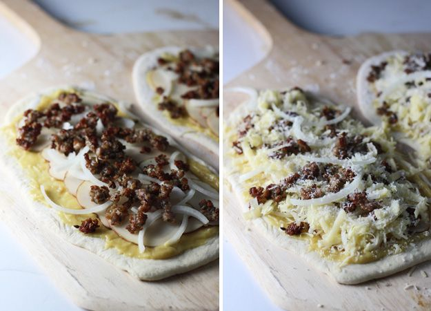 White Pizza with Roasted Garlic Sauce, Aged Cheddar, Potato and Italian Sausage by @cookingforkeeps