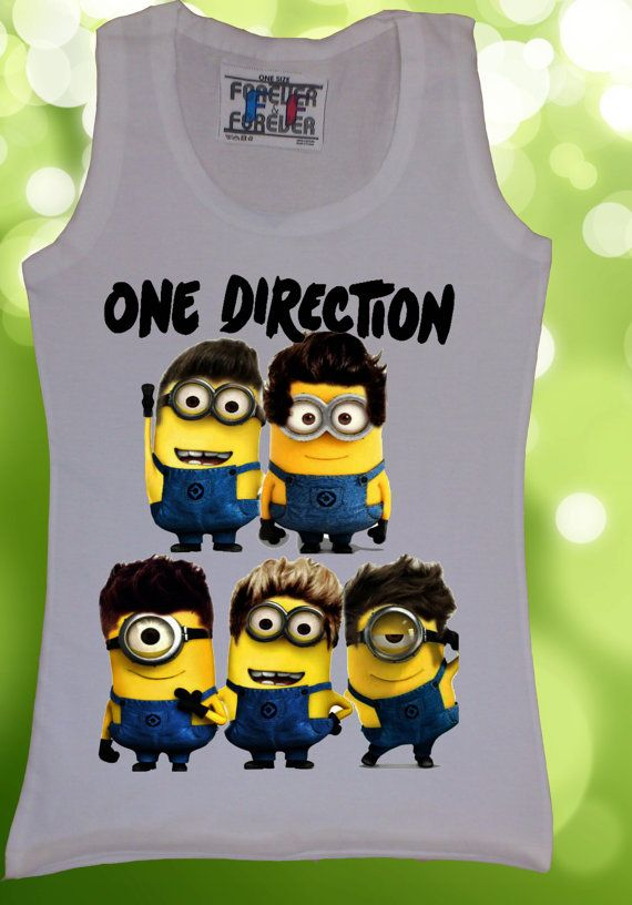 Disney Despicable Me 2 One Direction 1D Women Vest Tank Top T-Shirt Minions Minion Funny Novelty T shirt on Etsy, $15.09