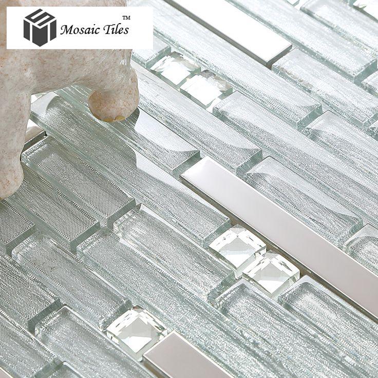Tst Crystal Glass Tile Crystal Glass Tiles Silver Strip Stainless Steel Kitchen Backsplash Bar Counter Bathroom