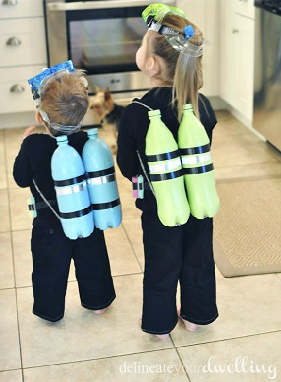 This scuba diver costume is so clever! It's inexpensive and really easy to pull together.