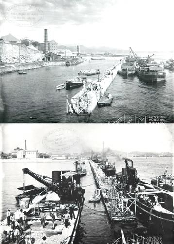 OBRAS DE CONSTRUÇÃO DO CAIS DO PORTO INÍCIO DO SÉCULO XX FOTOS ARQUIVO PÚBLICO MINEIRO