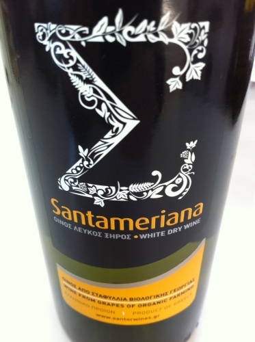 Love this label! Santor Wines, from the Peloponnese. Grape variety is the indigenous and rare Santameriana, which nearly became lost, but has been revived just a few years ago. This wine is the only 100% Santameriana in the world. Intense flavours of pears, peaches, honey, white flowers. Medium bodied with a creamy texture, explosive mid-palate and a strong finish. Think Muscat or Gewürtztraminer.Organic farming.