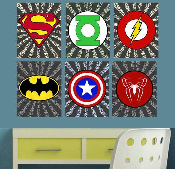 printable superhero logo wall art decor boys room superman green lantern flash batman captain america