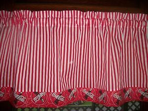 valance white striped stripes coca cola coke kitchen