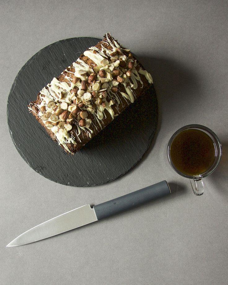 White Chocolate and Hazelnut Loaf Cake