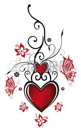 Valentijnsdag decoratie Harten met bloemen en vlinders Stockfoto