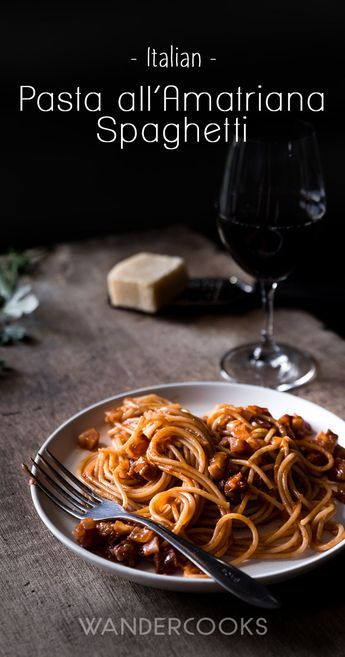 Pasta all Amatriciana Recipe - A rustic Italian pasta dish hailing from Amatrice, this recipe for Pasta all Amatriciana is perfect for a weeknight meal. Quick and easy to make, Pasta all Amatriciana has a gorgeously rich tomato sauce, smoky pancetta, a hint of chilli and freshly grated pecorino romano cheese weaved through Garofalo pasta. Buon Appetito! via @wandercooks
