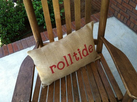 roll tide burlap pillow by theburlapelephant on Etsy, $16.50