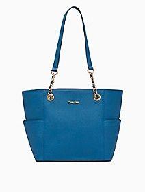 saffiano leather chain-trimmed tote bag   Calvin Klein