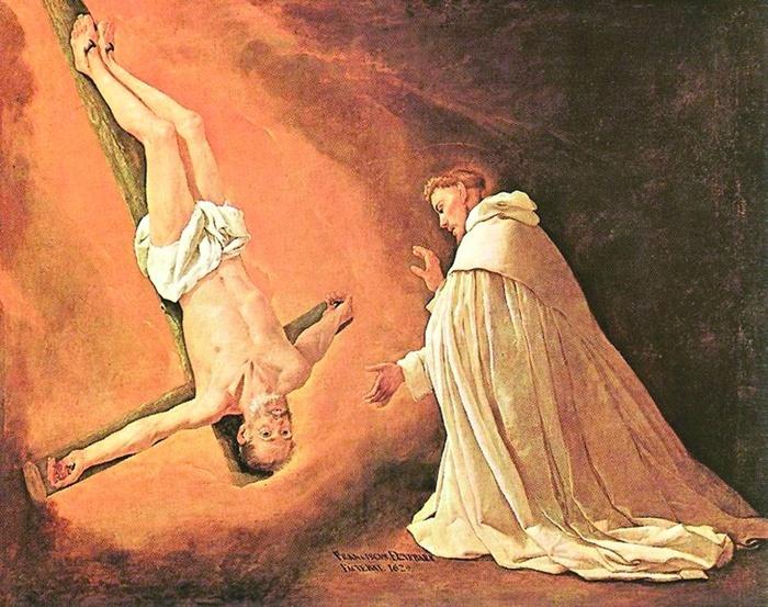 """2005.08 // Francisco de Zurbarán """"Objawienie się św. Piotra Apostoła św. Piotrowi Nolasco"""", olej na płótnie, 1629 Muzeum Prado (Madryt)"""