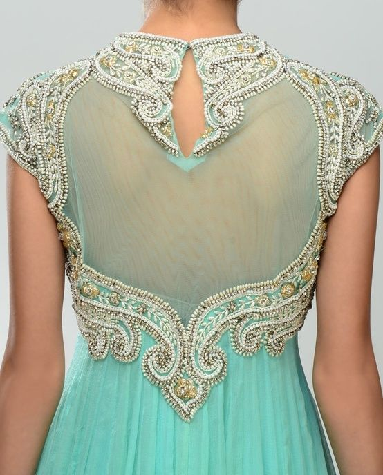 Aqua sheer back with silver and gold embroidery.