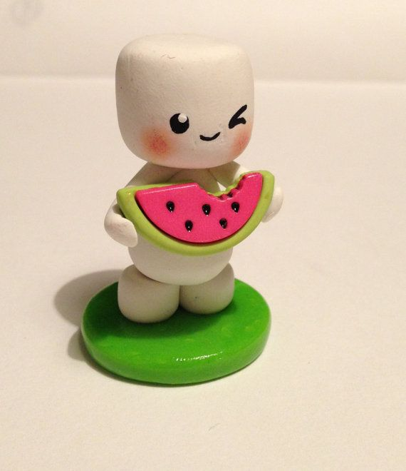 Hungry Little Marshfellow via Etsy ||| clay, toy, doll, house, marshmallow