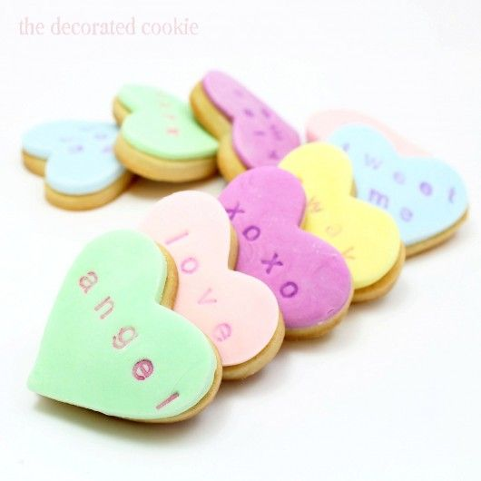 Conversation heart cookies for Valentine's Day are adorable.