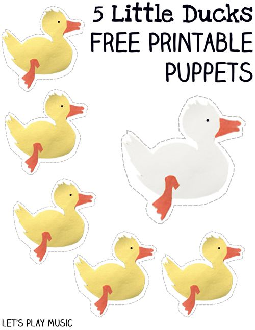 5 Little Ducks Went Swimming One Day Free Printable Puppets
