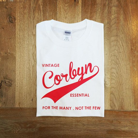 """Jeremy Corbyn, Vintage Essential #T-shirt For the Many Not the Few Tee. Labour Party British Politics  The story of the year was Jeremy Corbyn's remarkable journey to """"unele... #europe #brexit #britain #politics #election"""