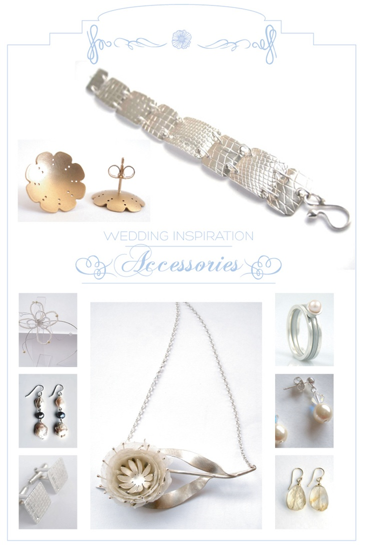 Inspiration Board: Silver Light 2  Many of the independent makers on Rise Creatives create unique gifts & accessories for special occasions such as weddings which can be purchased directly through our online shop. This inspiration board shows a variety of wedding & bridal accessories that can be given as unique gifts or worn on the big day.