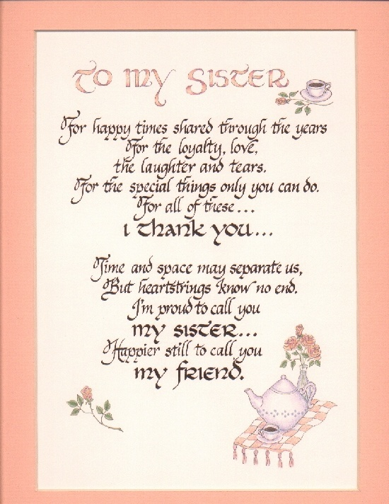 poem for my sister Short sister poems these are the most popular short sister poems by poetrysoup poets search short poems about sister by length and keyword.