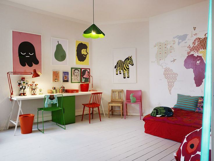 Colourful kid's room by Myrica Berqvist. via Miluccia.