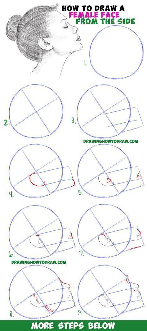 Lernen Sie, wie Sie ein Gesicht aus der Seitenprofilansicht zeichnen (Weiblich / Mädchen / Frau) Einfach