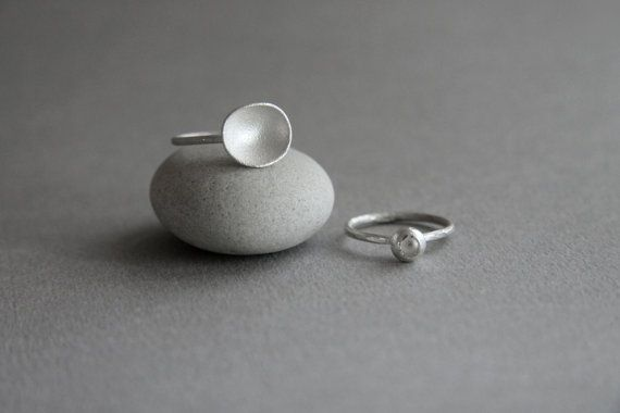 Stackable sterling silver bowl rings