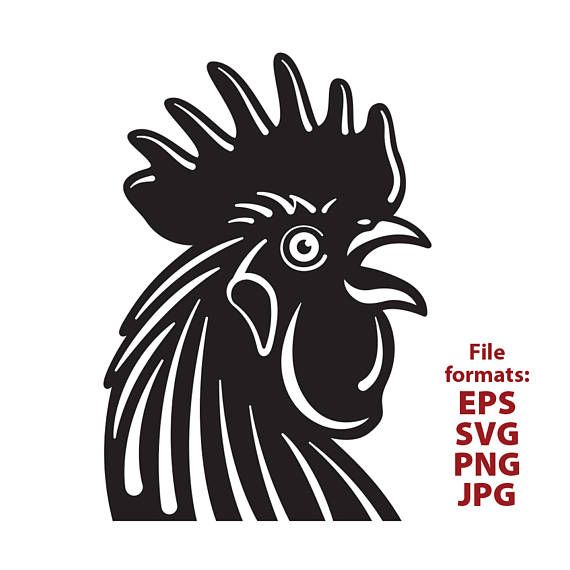 Rooster chicken rooster head clipart black and white