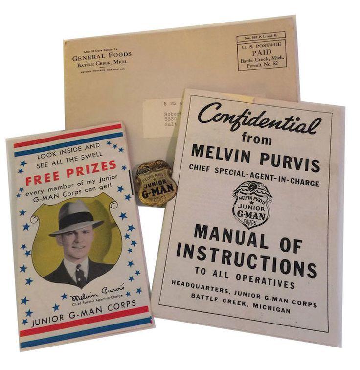 1930s Post Toasties Melvin Purvis Junior G-Man Corps