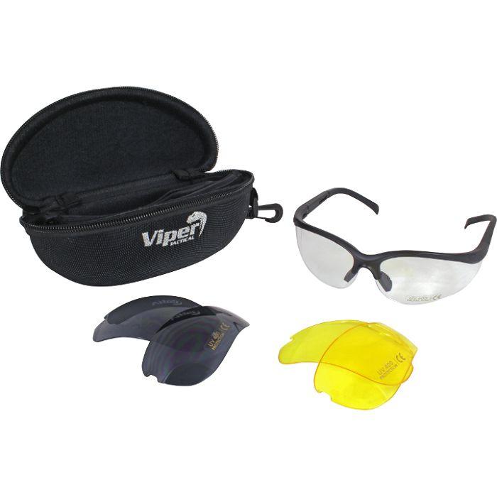 Mission Glasses van Viper. Set van zwarte pootjes met heldere, geel engrijze (smoke) verwisselbare lenzen.Geschikt voor sporten, fietsen, schieten, politie, militairen, airsoft of gewoon als zonnebril. https://www.urbansurvival.nl/product/mission-glasses/