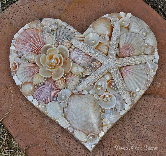Seashell Heart, Beach Wedding Decor, Seashell Decoration, Coastal Decor, Heart Mosaic, Heart Wall Art, Mixed Media Heart, Mothers Day Gift