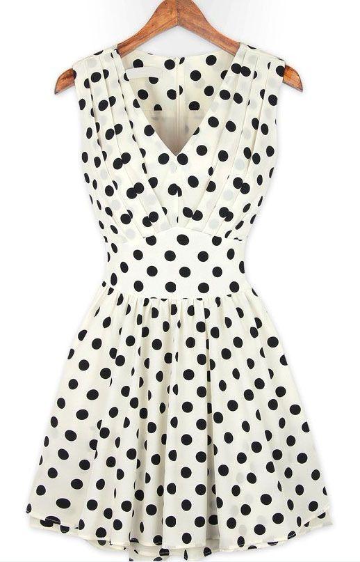 White V Neck Sleeveless Polka Dot Pleated Dress US$30.00