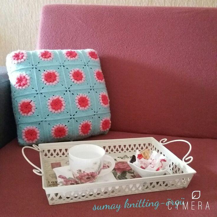 Popcorn model crochet pillow-- orgu yastik-- kirlent