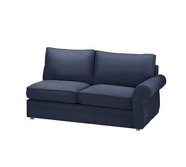 Pearce Upholstered Right Arm Love Seat Sleeper, Down Blend Wrapped Cushions, Performance Twill Cadet Navy