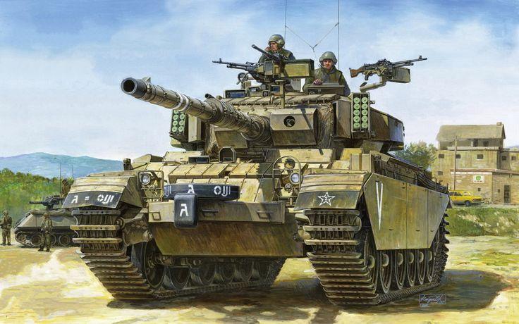 Tanque Sho't Kal, un Centurión modernizado por el Tzahal y que ofreció un magnífico resultado ante los tanques sirios en los Altos del Golán durante la guerra del Yom Kipur. Cortesía de Dragon box art. La mejor colección de láminas militares en http://www.elgrancapitan.org/foro/