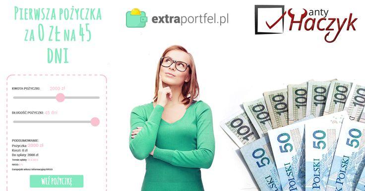Analiza pierwszej darmowej pożyczki w Extraportfel http://antyhaczyk.blogspot.com/2016/06/extraportfel-opinie-lendon.html - platformy należącej do właściciela marki Lendon. W Extraportfel można za darmo pożyczyć do 2000 zł na okres do 45 dni, co jest jedną z najatrakcyjniejszych ofert na rynku w kwestii pierwszej darmowej pożyczki. Jednak promocyjna pożyczka obowiązuje pod warunkiem, że się nie korzystało wcześniej z pożyczek w Lednon i jest się nowym klientem.