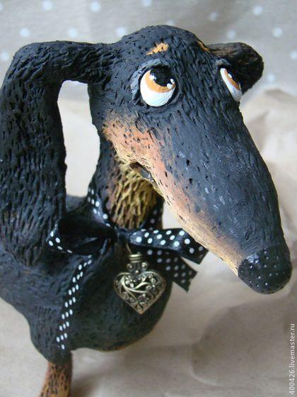 Любимая такса - чёрный,такса,собака,пёс,авторская игрушка,дружба,щенок