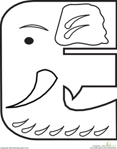 Letter E Coloring Page Worksheet
