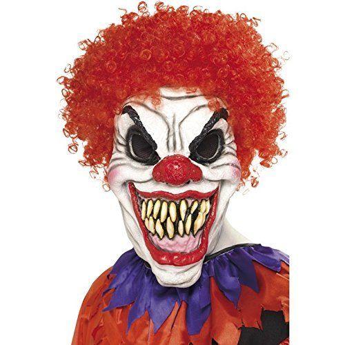 Masque de Clown Tueur Adulte: Masque de clown effrayant pour homme, Masque complet avec sourire sinistre et nez rouge, Cheveux frisés…