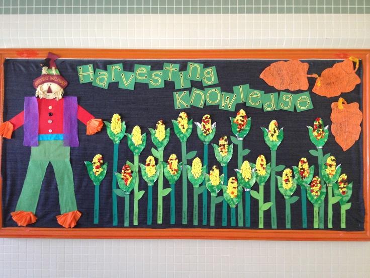 November bulletin board  Corn filled with crepe paper balls