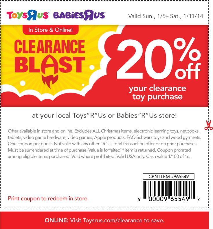Pinned January 6th: Clearance toys are another 20% off at #ToysRUs & Babies R Us #coupon via The Coupons App