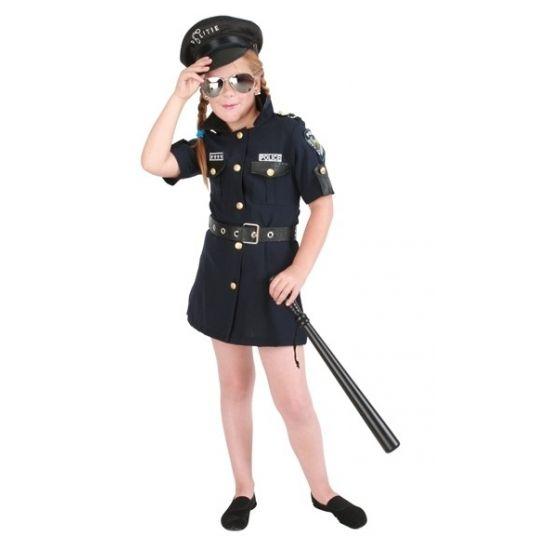 Meisjes politie kostuum verkleedkleding. Deze verkleedjurk bestaat uit een jurkje en een riem.