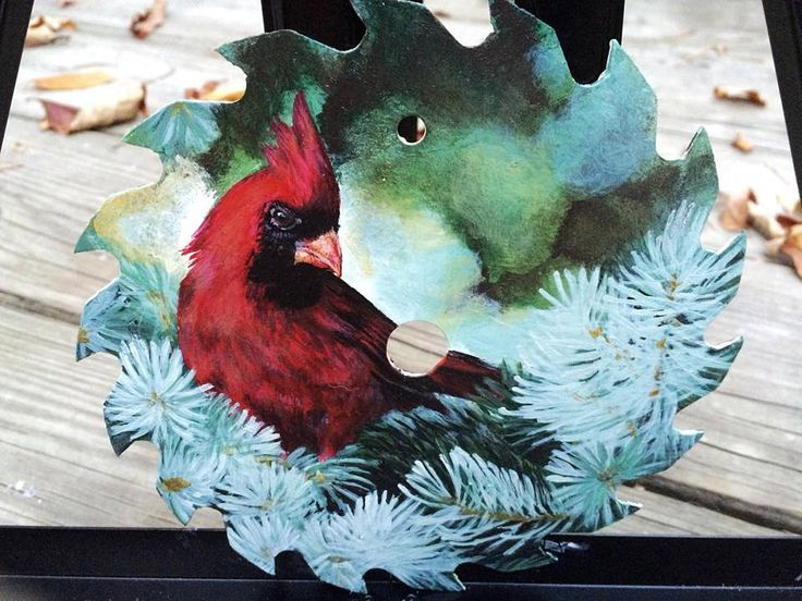 Cardinal hand painted saw blade by KtsArtandDesign on Etsy