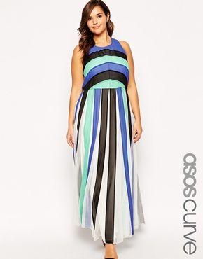 Enlarge ASOS CURVE Maxi Dress In Color Block Mesh
