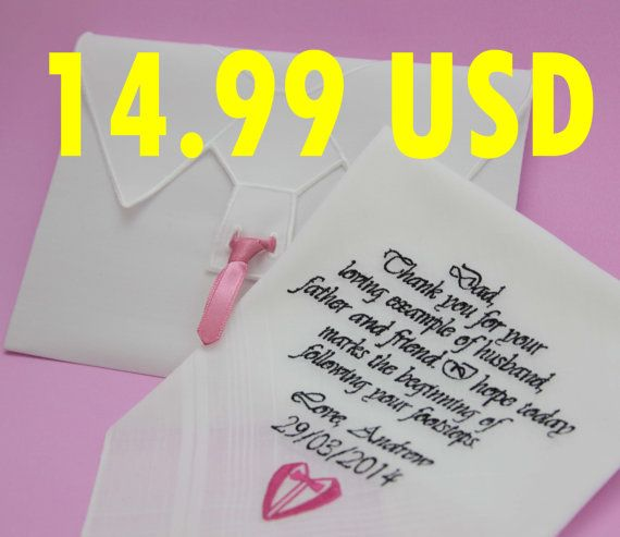 Father of The Groom Handkerchief. Embroidered by PromiseForever, $14.99
