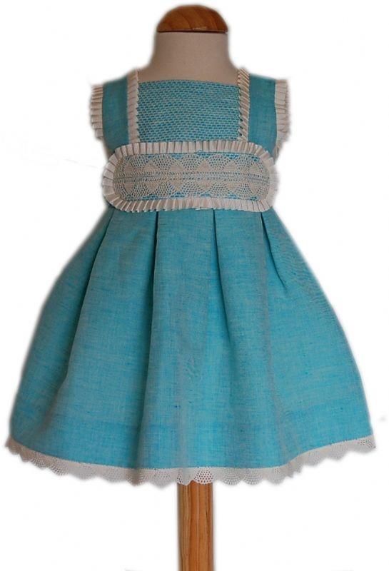 Descripción del artículo: Ropa Verano niña de 0 a 5 años, , Vestido de lino turquesa con puntilla de bolillo.. Tienda Virtual
