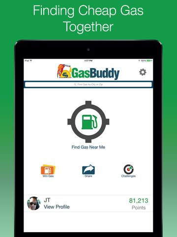 Gas Buddy is an app that helps you find the cheapest gas prices in the area you're driving through! Get it here: https://itunes.apple.com/us/app/gasbuddy-find-cheap-gas-prices/id406719683?mt=8
