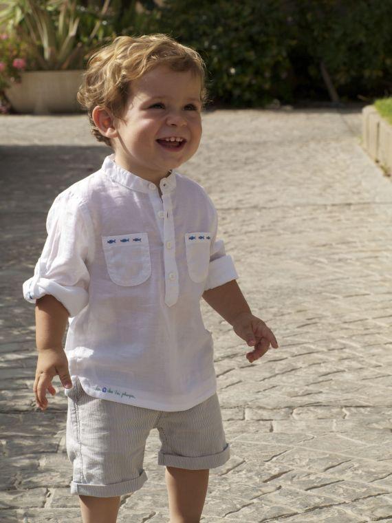 Camisa de algodón con cuello mao para bebé / La Casa de La Playa - Artesanio