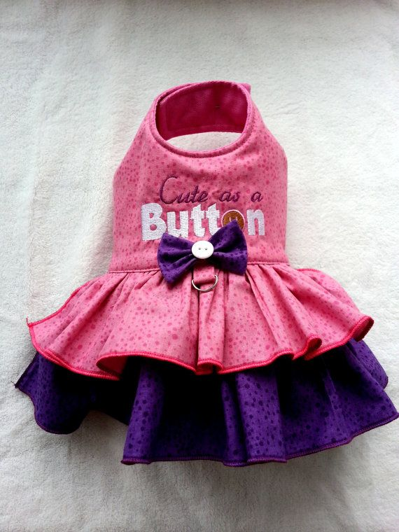 Small dog clothes Chihuahua clothes, Cute as a button outfit Designer dog clothes Puppy clothes Dress Harness